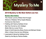 2019 Top 10 bestselling mysteries at Mystery To Me bookstore.