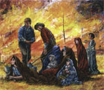 Painting by Mel Kishner of people fleeing the 08 October 1871 Peshtigo Fire in Wisconsin.
