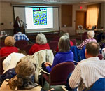 Kathleen Ernst presenting her Chloe Ellefson mysteries program 08 March 2019 at the Port Washington Wisconsin Public Library.