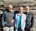 Photo at the Finnish Hanka Homestead near Braga in the Upper Peninsula of Michigan of Bill Tischler and Kathleen Ernst and Alan C. Pape.