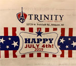 Photo of poster for Trinity Lutheran July 4th celebration in Freistadt Wisconsin.