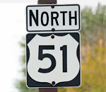 US Highway 51 North sign photo by Scott Spangler.