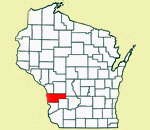 Wisconsin map showing location of Vernon County in red.