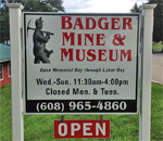 Photo of the Badger Mine & Museum sign in Shullsburg, Wisconsin.