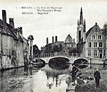 Postcard view of convent in Bruges Belgium.