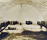 Photo of a root cellar in a Cornish cottage at the Pendarvis Historic Site in Mineral Point, Wisconsin. Photo is from a postcard in the collection of bestselling author Kathleen Ernst.