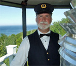 "Docent Scott ""Mr. Ernst"" Meeker at the Pottawatomie Lighthouse, Rock Island State Park, Door County, Wisconsin."