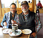Kathleen & 'Mr. Ernst 'doing research' for The Heirloom Murders at The New Glarus Hotel in New Glarus, WI.