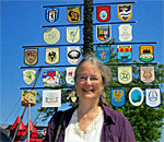 Bestselling author Kathleen Ernst at Milwaukee's German Fest researching scenes for her Chloe Ellefson mystery A Memory of Muskets. Photo by Scott Meeker.