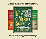 Advance Review Copies Giveaway of Chloe Ellefson Mystery 9 The Lacemaker's Secret by bestselling author Kathleen Ernst.