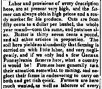 Exerpt from Miners' Free Press newspaper, Mineral Point, Wisconsin, 1837.