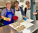 Making Kransekake traditional Norwegian almond cake at the Sons of Norway-Mandt Lodge in Stoughton Wisconsin.