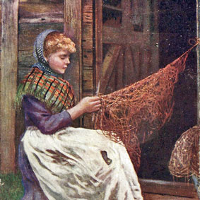 This painting of a Danish woman mending a fishing net inspired author Kathleen Ernst when was creating the Ragna Anderson character in <em>The Light Keeper's Legacy.</em>
