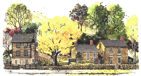 Watercolor painting of the Pendarvis State Historic Site, Mineral Point, Wisconsin. Copyright Jennifer Sharp Giddings. Used with permission.