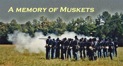 Photo of the Mudsills Civil War reenacting unit taken circa 1985 at Old World Wisconsin by John Wedeward. Photo edited by Scott Meeker.