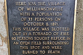 Photo of Williamsonville Wisconsin 1871 fire memorial plaque.