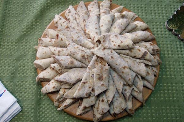 <strong>Lefse.</strong> This traditional Norwegian flat bread is a popular treat among Norwegian-Americans, especially at Thanksgiving and Christmas. The author prefers hers with a little bit of butter, brown sugar, and cinnamon. (Lefse by Alisha Rapp. Photo by Scott Meeker.)