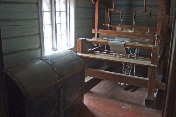 <strong>Wooden trunk in Vesterheim's Valdres House.</strong> This trunk also plays a role in the mystery. (Vesterheim Norwegian-American Museum. Photo by author.)