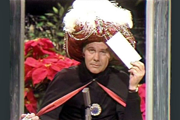 The long-running Tonight Show Starring Johnny Carson was a favorite of Bill Solberg, the Daleyville neighbor of Bergit Lundquist. Here Carson is doing his popular 'Carnac the Magnificent' routine. (Photo by CBS-Gabor Rona via Wikipedia.)