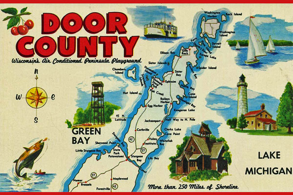 <strong>Door County Postcard.</strong> Visitors to Wisconsin's Door County purchased this as a souvenir. (Postcard copyright by Hegedorn Studio.)