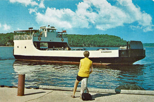 <strong>The <em>Eyrarbakki</em>.</strong> Chloe takes this 95-ton car ferry, built in Door County in 1970, to Washington Island. (Postcard copyright by Hegedorn Studio.)