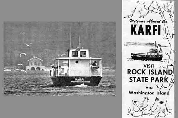 <strong>The <em>Karfi</em>.</strong> This is an early 1980s photo of and brochure for the passenger ferry Chloe takes between Jackson Harbor and the Viking Hall dock on Rock Island. (Courtesy of the Washington Island Historical Archives.)