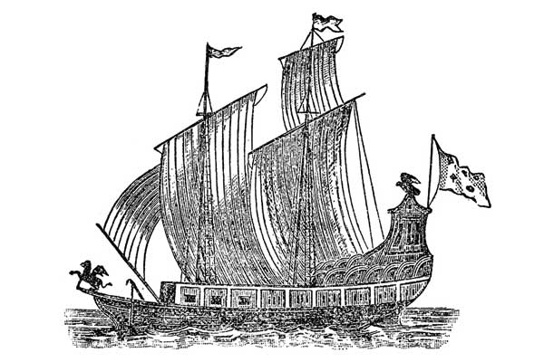<strong><em>Le Griffon</em>.</strong> Launched in 1679, this 45-ton wooden vessel was the first European sailing ship on the Great Lakes. It carried the French explorer La Salle to Rock and Washington Islands, before disappearing without a trace. (Woodcut from <em>Nouvelle Decouverte</em>, by Father Louis Hennipin, published in Utrecht, 1697.)