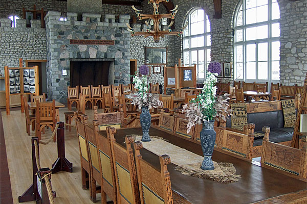 <strong>Chester Thordarson's Icelandic Hall.</strong> For 50 years this Chicago industrialist owned almost all of Rock Island. To honor his Icelandic heritage, he had this magnificent 'Viking Hall' built for entertaining guests. Chloe finds tantalizing clues about the island's history here. (Photo by the author.)